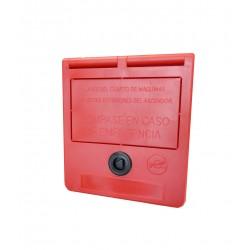Boîte de clés d'urgence (texte en espagnol)