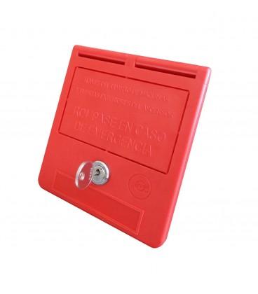 Boîte de clés d'urgence texte en espagnol avec clé